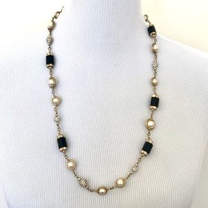 J. Crew Pearl Gold and Black Necklace